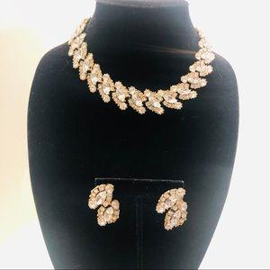Gold base; Rhinestone necklace w/ matching earring